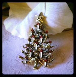 Vintage Enamel Candles Christmas Tree Brooch